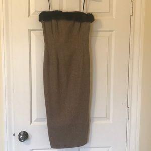 Shoshanna strapless tweed dress with fur trim